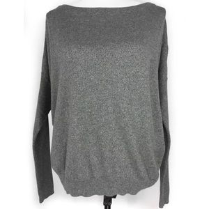ANA Gray Silver Shimmer Dolman Sleeve Sweater M